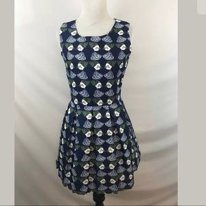 Zara Moody's Patterned Pleated Dress Size Small